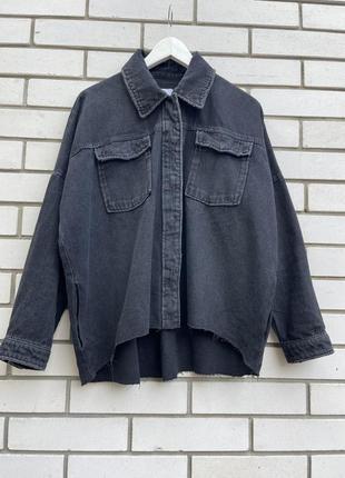 Чёрный,джинсовый пиджак с потёртостями,жакет,куртка, рубашка,оверсайз zara