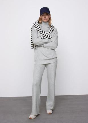 Новый тёплый трикотажный вязаный спортивный костюм комплект брюки штаны свитшот худи zara m l