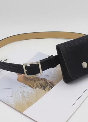 Модный женский черный ремень поясная сумка ремень 4018