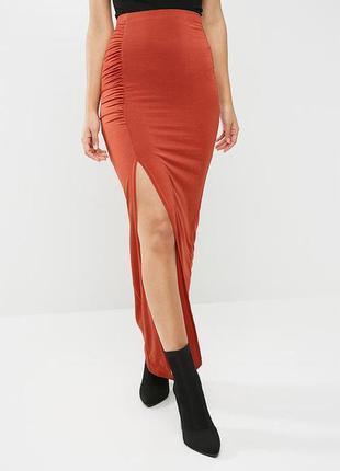 Идеальная облегающая прямая юбка макси с разрезом спереди missguided