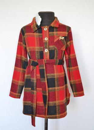 Платье туника на девочку 6-12 лет, детское платье теплое в клетку