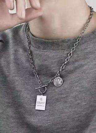 Массивная цепочка с кулоном ожерелье цепь колье 3074