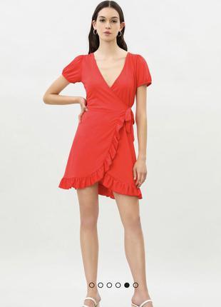 Платье на запах красное zara lefties m