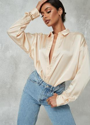 Сатиновая рубашка персиковая, сатинова сорочка персикова, жіноча сорочка