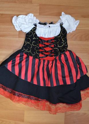 Карнавальный костюм пиратка на 3-4 гола, платье пиратка