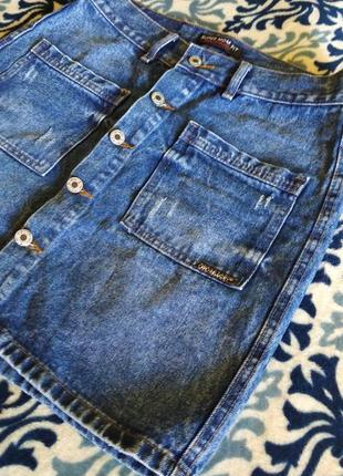 Джинсовая юбка с пуговицами впереди 48 размер
