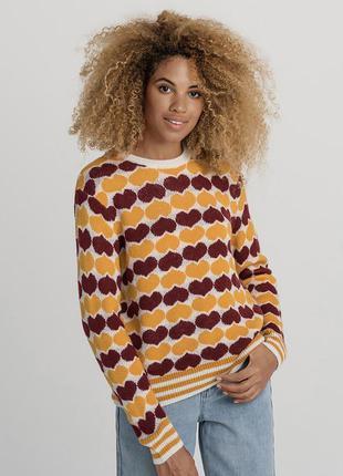 Мягкий оверсайз джемпер свитер в сердечко бифри