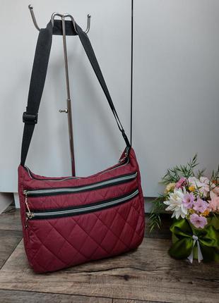 Модная стеганая сумка, цвет вишня