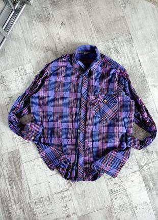 Сиреневая клетчатая плотная хлопковая рубашка