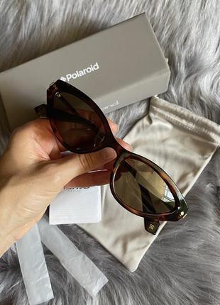 Стильные женские очки с золотистыми дужками polaroid с поляризацией оригинал