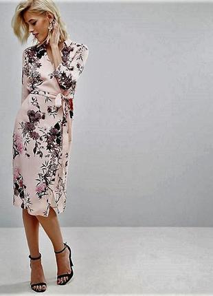 Платье рубашка в цветочный принт с запахом и поясом большой размер