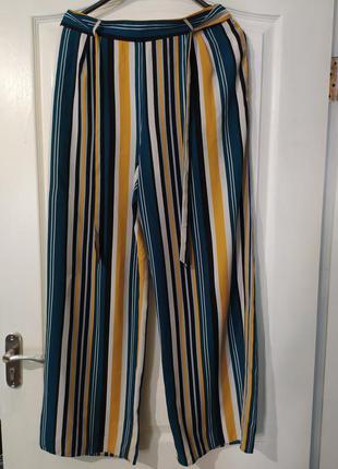 Штаны брюки кюлоты с пояском цветные полосы