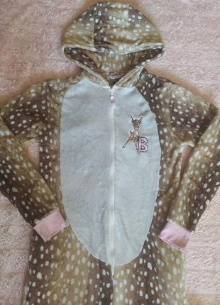Кигуруми пижама слип комбинезон домашний плюшевый дисней бемби коричневый нежный красивый