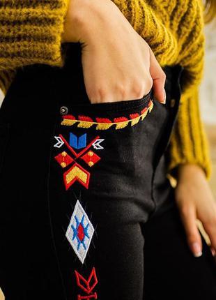 Модные джинсы скинни с высокой талией, высокой посадкой, американки с вышивкой 26-30р