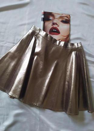 Стильная юбка клеш эко-кожа