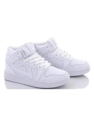 Подростковые белые высокие кроссовки ботинки