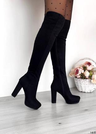 Замшевые ботфорты деми черные ботфорты на каблуке замш