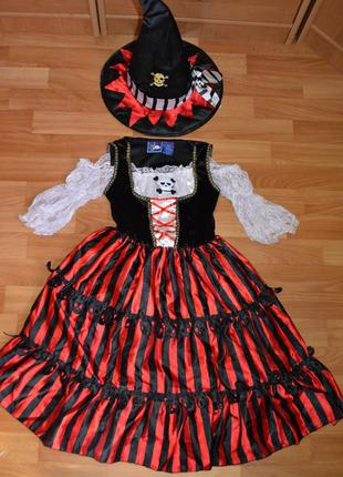 Карнавальный костюм пиратка на 6-7 лет, платье пиратка