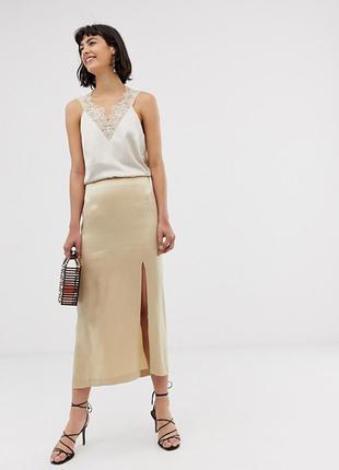 Атласная юбка-миди