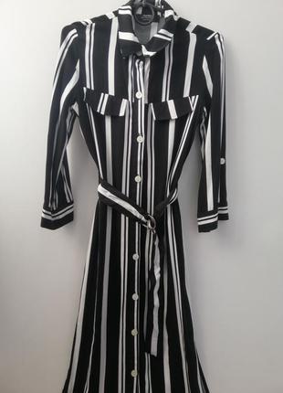 Платье рубашка длина миди черное белое в полоску