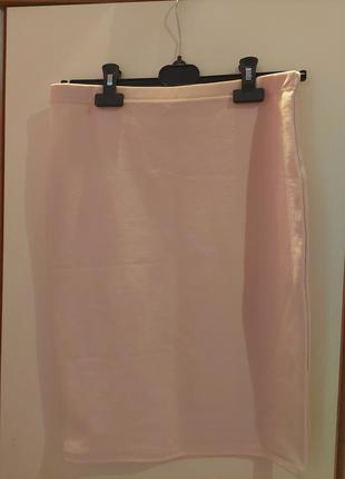 Персиковая юбка- карандаш миди