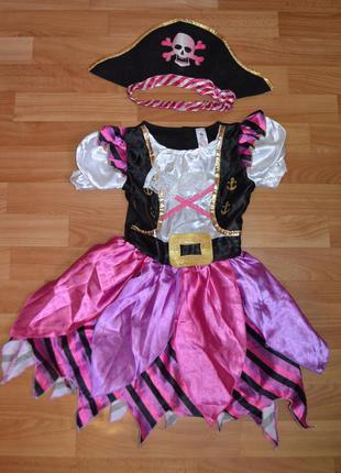 Карнавальный костюм пиратка на 5-6 лет, платье пиратка
