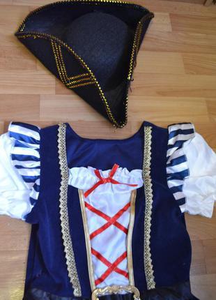 Карнавальный костюм пиратка на 11-12 лет, платье пиратка