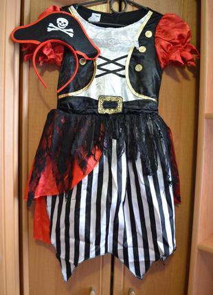 Карнавальный костюм пиратка на 7-8 лет, платье пиратка