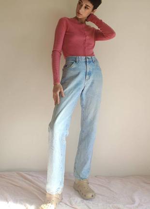 Джинсы винтаж голубые классика мом мам высокая посадка талия