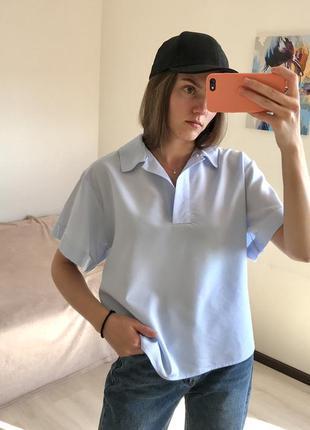 Базовый небесный топ поло рубашка свободного кроя zara