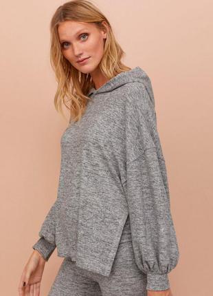 Меланжевое худи кофта мягкий свитер с капюшоном объёмными рукавами