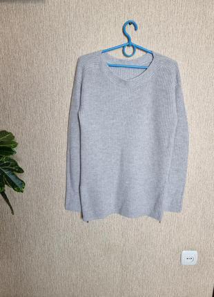 Приятный джемпер, свитер крупная вязка с молниями по бокам от hugo boss orange, оригинал