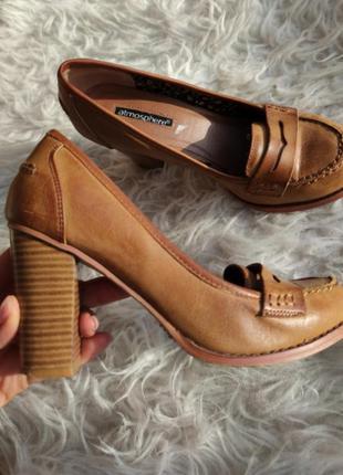 Туфли лоферы на устойчивом каблуке маленький размер 35 36 atmosphere