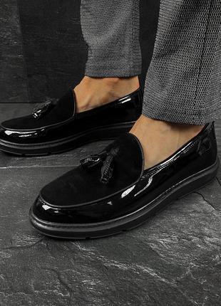 Лаковые мужские лоферы черные туфли кожа