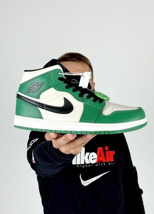 Женские кроссовки nike air jordan 1 white green 36-37-38-39