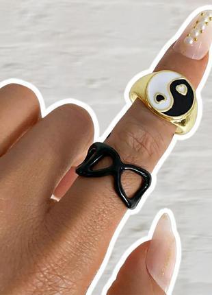 Набор колец 2 шт кольцо инь янь с сердечками черное кольцо