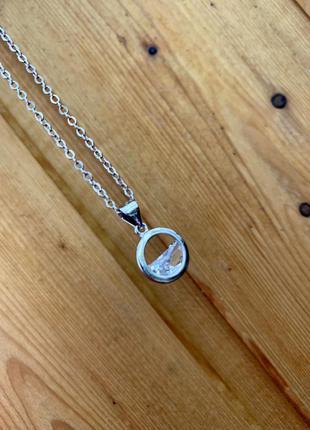 Серебряная подвеска, медальон, кулон, цепочка