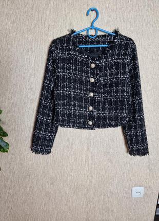 Стильный твидовый укороченный пиджак, жакет shein