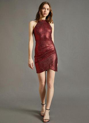 Новое шикарное брендовое вечернее платье миди бордового цвета с золотыми блестками