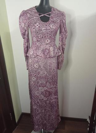 Винтажное вечернее платье с баской рукава фонарики винтаж ретро