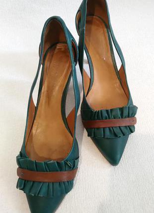Женские туфли босоножки carlo pazolini 40-41р кожа испания зеленого цвета