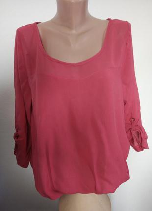 Блуза с прозрачной кокеткой и рукавом 3/4,цвет дымчатой фуксии