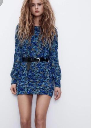 Шифоновое мини платье в цветы от zara / шифонова коротка сукня від zara