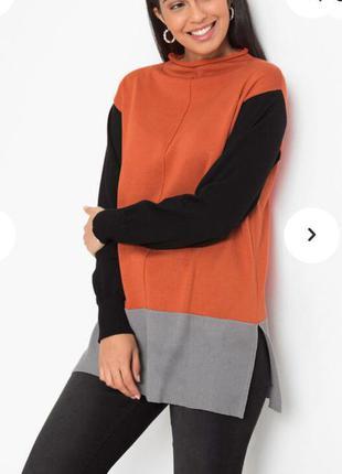 Пуловер удлинённый  большой размер