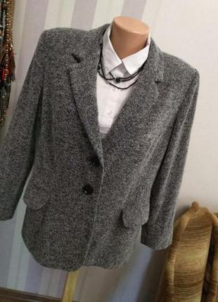 Винтажный люксовый шерстяной жакет пиджак серый большой размер люкс бренд