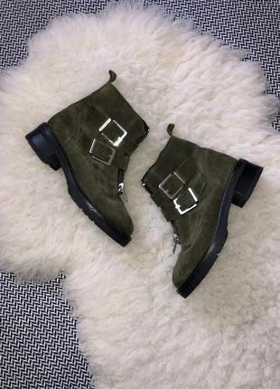 Ботинки сапоги хаки демисезонные кожа кожаные замша замшевые sacha
