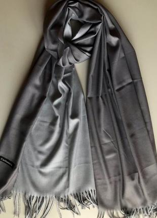 Двусторонний кашемировый шарф cashmere / серый, светло-серый