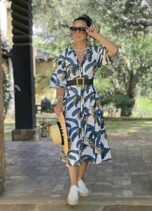 Платье из натуральной ткани принт на пуговицах с поясом