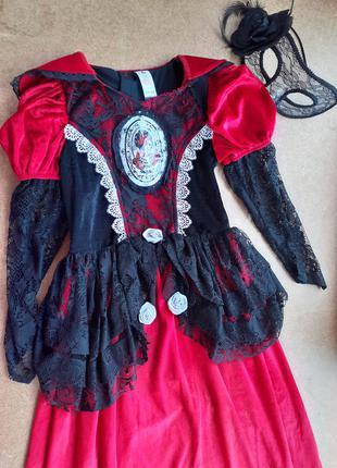 Карнавальное платье хеллоуин 7-8 лет призрак графини вампирша ведьма