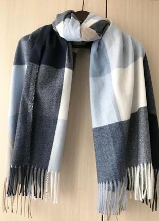 Кашемировый шарф в крупную клетку cashmere / серый, белый, голубой